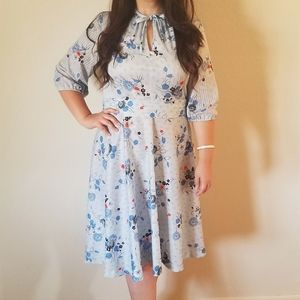 Vintage 70s Whirlaway Blue Floral A Line Dress